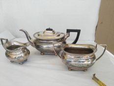 Lot 642 - Antique English silver plated three-piece tea set marked S.S.SP LTD EPBM, 1950s