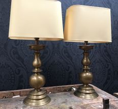 2 large bronze lamp-stands each with it's own lampshade