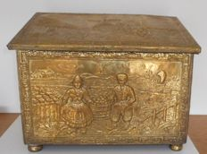 Antique Brass Copper Peat/Coal Box