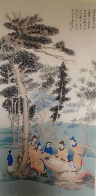 Hand painted large scroll painting after Zhang Daqian -《张大千-高仕》 - China - late 20th century