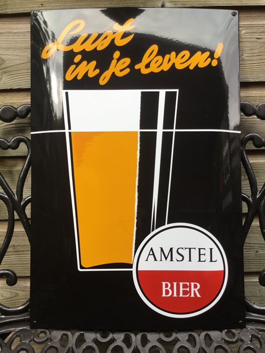 Enamel sign of ,, Amstel Bier ''Lust in je leven! From the 1960s