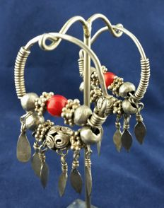 Silver Afghan earrings from early 20th century