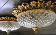 Couple of bronze ceiling lamps from the middle of the 20th century