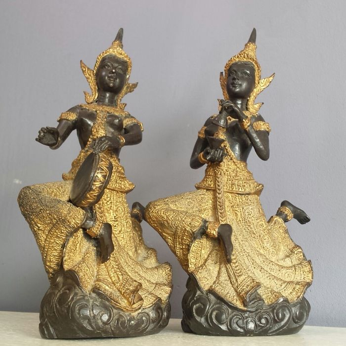2 Bronze temple guards - Thailand - Second Half 20th century