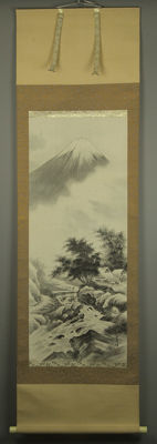 Hand-painted scroll painting - Fuji - signed - Japan - mid 20th century