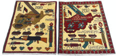 Pair of Amazing Afghan WAR DESIGN Hand Knotted Area Rug 89 cm x 60 cm