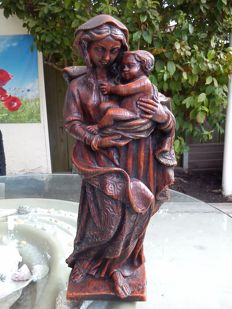 "Large wax figure ""Madonna with child"", wooden look"