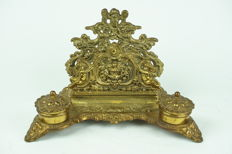 Richly decorated bronze inkstand/letter holder