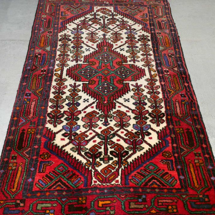 Magnificent semi-antique, Persian Hamadan rug - 121 x 76 - with certificate