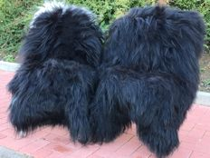 Extra large, black/white long-haired Icelandic sheep skins - Ovis aries - 140 x 90 cm  (2)
