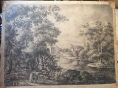English School - 18th century - Travellers on a sandy track through a forest near a water mil -l large graphite drawing