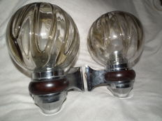 Mazegga (attr.) - two chrome wall lights with wooden crosspiece
