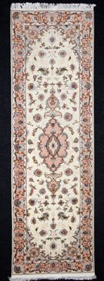 Magnificent Tabriz carpet, very fine, before 1970, kork, 250 x 77 cm