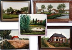 Collection five oil paintings by A. Prinsen