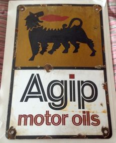 porcelain sign  Plaque emailee AGIP motor oils- 1960