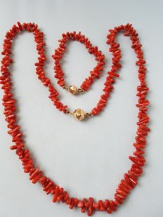 Set of a necklace and bracelet with natural precious coral, with a 14 kt gold clasp - circa 1890