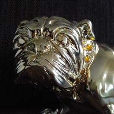 Galvanised bulldog (!) - beautiful, 39 cm - life-size