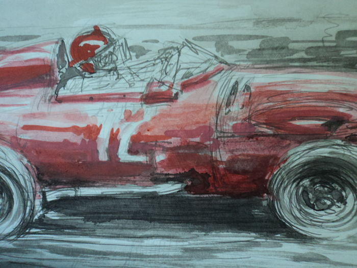 "1 original watercolour drawing ""Tout Rouge"" - Francois Chevalier- 30 cm x 21 cm"