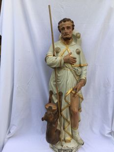 Beautiful, large church statue Saint Roch of Montpellier - authentic polychrome terra cotta, earthenware - 19th century