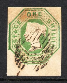 Great Britain Queen Victoria 1847 - 1 Shilling Green Embossed Issue Die 1, Stanley Gibbons 55