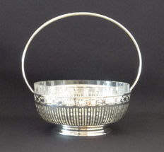 Silver chocolate dish with cut crystal insert - Germany - 20th century