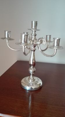 Beautiful silver plated five pointed candle stand, 20th century