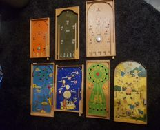 Seven various wooden marble games - 50s