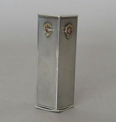 Guilloched silver lipstick case