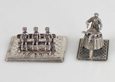 2 Silver miniatures, butcher and bench with 3 men, 20th century