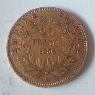 France – 20 Francs 1856 A (Paris) – Napoléon III – gold