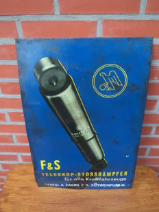 Fichtel & Sachs stossdampfer - tin advertising sign / shock absorber