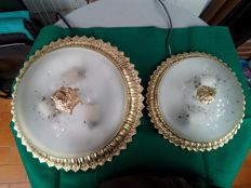 2 Beautiful bronze and fine crystal (not glass) ceiling lamps , with ceramic lamp-holders