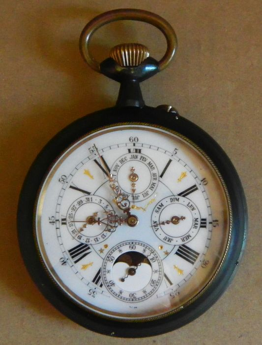 Giant Gunmetal - Moon Phase, Calendar Pocket Watch - circa 1890-1900