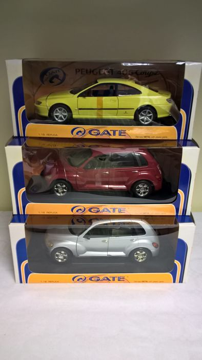 Gate - Scale 1/18 - Lot of 3 cars:  Peugeot 406 coupe 1999 1and 2 Chrysler PT Cruiser 2000 - one grey and one red