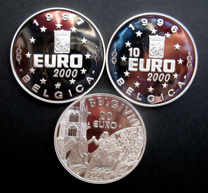 Belgium - Euro, 10 Euro coins and 20 Euro coins 1996/1997 (3 different) - silver