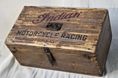 INDIAN MOTORCYCLE old garage wooden box