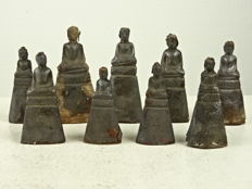 A collection of nine silver plated Buddha - Thailand - 18th/19th century