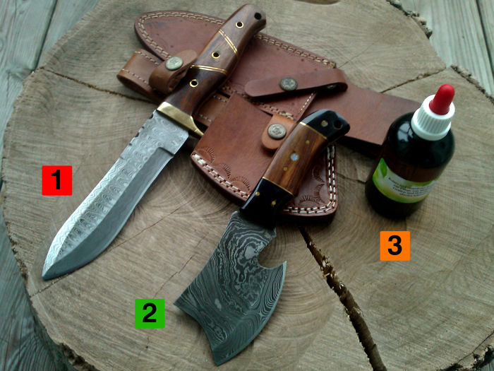 1 x large Damask steel hunting knife/outdoor/camping - length 30 cm + small Damask steel axe + 100 ml of Camellia care oil