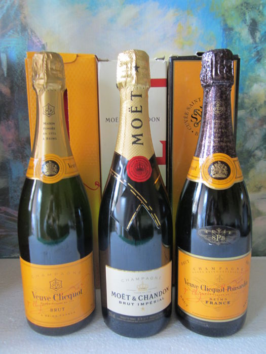 Veuve Clicquot Ponsardin Cuvèe Saint Petersburg x 1, Moet & Chandon Brut Imperial x 1 & Veuve Clicquot Brut x 1 - 3 bottles (75cl) in original boxes
