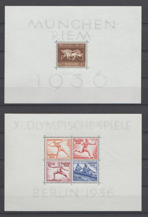 German Reich 1936/1937 - Selection of blocks - Michel block 4x, 5x, 6, 7, 8, 10