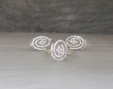 Ring and earrings with 2.4 ct extra white diamonds, like new! Top Wesselton, E-F