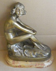 Sculpture; F. Michel - Young Nude Lady dreaming - ca 1900