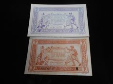 France - Trésorerie aux Armées - 1 and 2 francs 1917 - Fayette VF3-13 and VF5-4