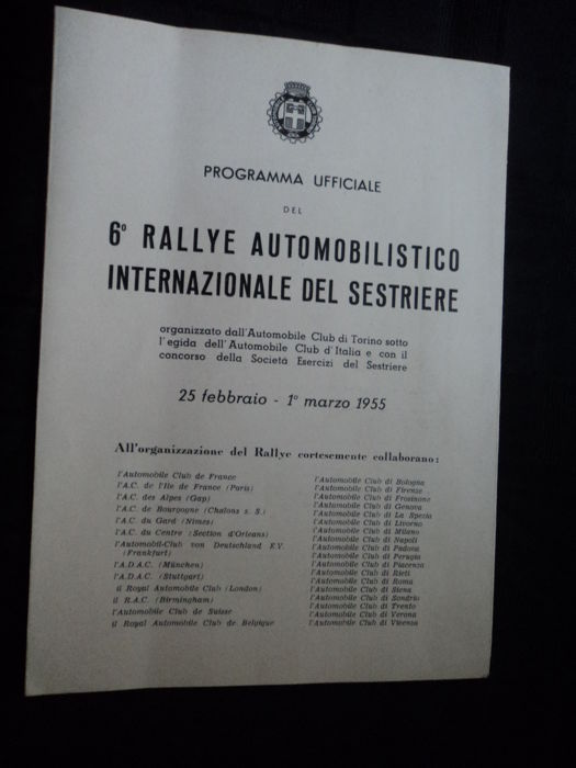 "1 official programme 1955 - 6th rally ""Automobilistico in Ternazionale del Sestriere"""