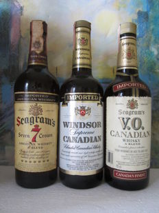 3 bottles - Windsor Supreme Canadian 1983 - Seagram's Seven 7 Crown 1972 - Seagram's V.O. 1984