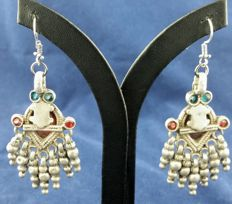 Antique Afghan pieces mounted on earrings with coloured glass