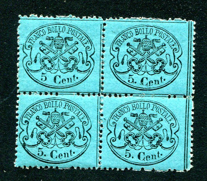 Papal State, 1868 - Bluish-green  5 cent, and light blue, in block of four - Sassone Nos.  25/25a