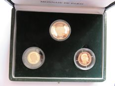 France - Monnaie de Paris - Case of 3 coins (10, 20 & 50 Francs) Louis Napoléon Bonaparte 1852-1991 - Gold
