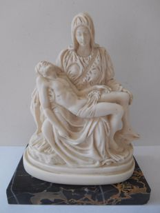 Signed stone statue of Jesus and Mary on marble base from ca. 1930