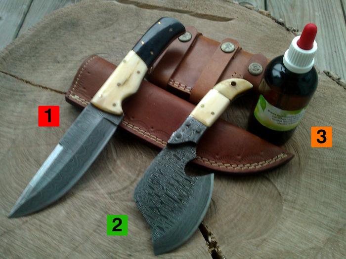1 x Damask steel hunting knife/outdoor/camping - length 23 cm + 1 x small Damask steel axe + 100 ml of Camellia care oil
